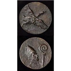 Bronze Medallion Saint Martin and Goose #2385673