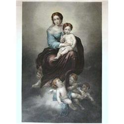 Color Engraving Virgin with Rosary a. Murillo #2385677