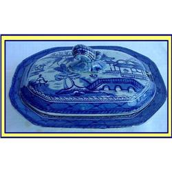 19C STAFFORDSHIRE CHINOISERIE BUTTER / VEG DISH#2385944