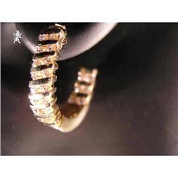 RHJ Channel Set Cubic Zirconium Hoop Earrings  #2389591