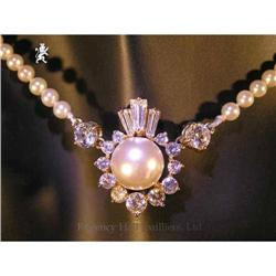 RHJ Simulated Pearl (Comp) Necklace w/ CZs #2389592