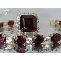 RHJ Elegant Rich Synthetic Ruby Ring w/ CZs #2389596