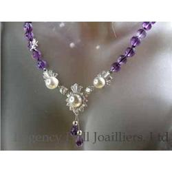 RHJ Genuine Amethyst Neck Simulated Pearl(Comp)#2389597