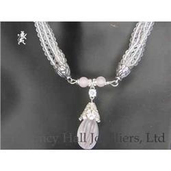 RHJ Frosted Crystal & Rose Quartz Necklace #2389599