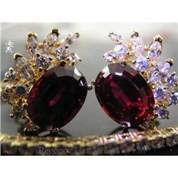 RHJ Synthetic Ruby & Cubic Zirconium Earrings  #2389600