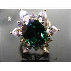RHJ Simulated Emerald (YAG) Ring & Cubic #2389602