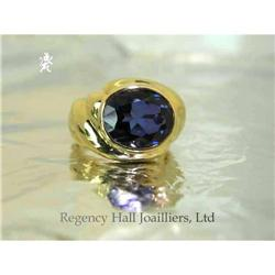 RHJ Bezel Set Oval Synthetic Sapphire in 18k #2389604