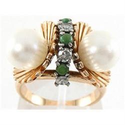 Unique 18K Gold Diamond Pearl Jade Deco Ring #2389618