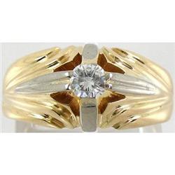 1950s 18K Gold Platinum Diamond Men's Solitaire#2389619
