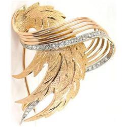 Art Deco 18K Gold .50ct Diamond Spray Brooch #2389620