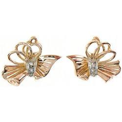 1940's 18K Rose Gold Diamonds Deco Earrings #2389621