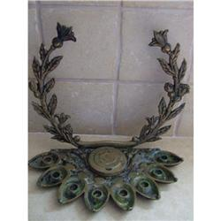 Antique Menorah brass Zel zion Judaica Hanukkah#2389632