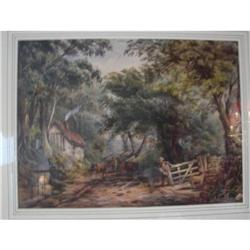 EARLY ENGLISH WATERCOLOR OF A COUNTRY ROAD #2389651