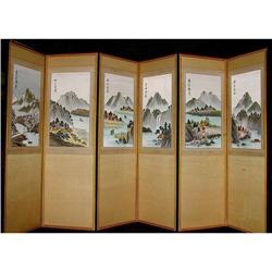 SIX-PANEL KOREAN SILK-EMBROIDERED LANDSCAPE #2389936