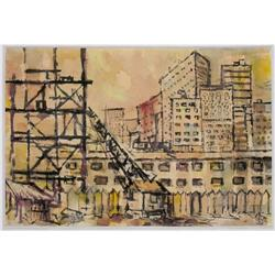 ORIG '58 BERG  WATERCOLOR PAINTING OF NY #2389939