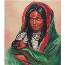 ORIG PAINTING IN PASTELS OF AMERICAN INDIAN #2389942