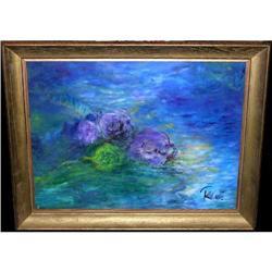 ORIG PAINTING IMPRESSIONISTIC FLOWERS ON BLUE #2389943