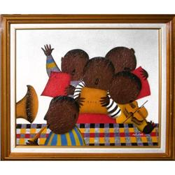 ORIG MIXED MEDIA PAINTING OF CHILDREN MUSICAL #2389945
