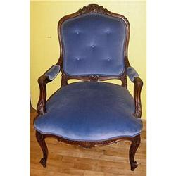 ANTIQUE CARVED WALNUT ARM CHAIR #2389955