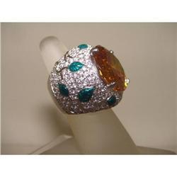 Designer 60ct Round Citrine Green Enamel Ring #2390346