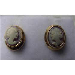 Estate Shell Cameo Earrings Yellow Gold Post #2390349