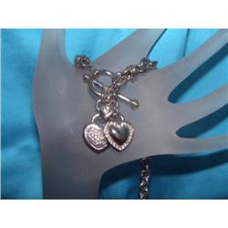 Estate Sterling Silver Heart Chain Necklace #2390351