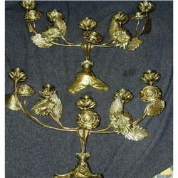 Pair of Vintage Gilt Bronze 5 light Candelabras#2390359