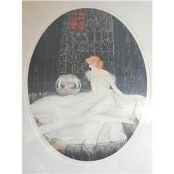Deco Courcelles Print Lady and the Fish Bowl #2390369
