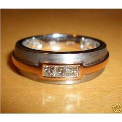 Mens 14K White Gold Princess-cut Diamond Ring #2390384