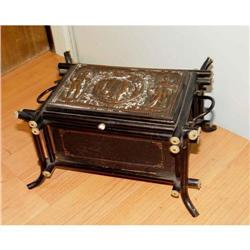 19c Victorian Japanned Jewelry Box Romeo Juliet#2390480