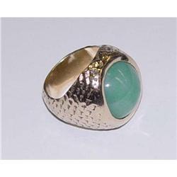 Antique 14kt Gold Jade Cabochon Ring #2390482