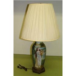Lady Lyre Player Vase Lamp Girl Porcelain old #2390484
