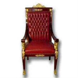 FRENCH EMPIRE LEATHER THRONE CHAIR #2353657