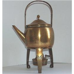 WMF Art & Crafts Hammered Brass kettle & Stand #2353658