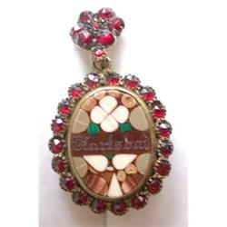 Antique Garnet & Pietra Dura Locket #2353664