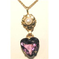 14K Amethyst & Pearl Heart Pendant #2353665