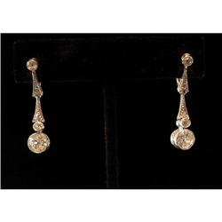 Antique Edwardian Platinum Diamond Earrings #2353675