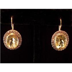 Antique 18K Gold Diamond Topaz Earrings  #2353676