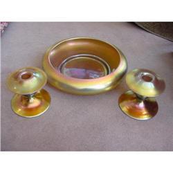 Steuben Aurene Console Bowl Candlesticks #2353677
