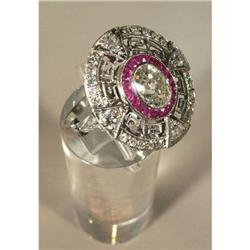 Antique Platinum, Diamond & Ruby Ring #2353680