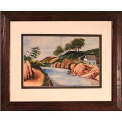 River view landscape watercolor painting #2353686
