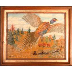 Pheasant in Flight  by Ed Smith - oil painting#2353691