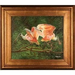 """Spoonbills"" by D. Bammet - oil painting #2353694"