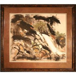 Harold Cohn?s Waterfall ? Watercolor Painting #2353700
