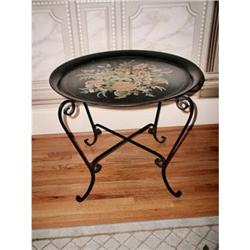 Tole Tray Table France 19th Century Hand Paint #2353704