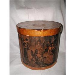 Wooden Hat Box Harpers Bazaar 19th Century #2353714