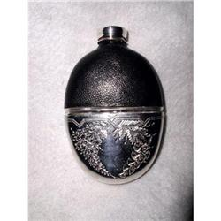 English Flask Silver Plated Leather 19th #2353718