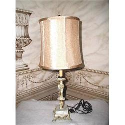 Marble Metal Lamp New Silk Shade Early 1900's #2353722