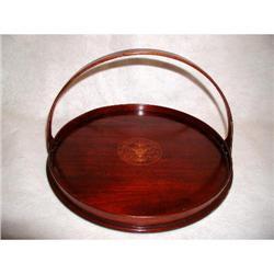 Mahogany Handled Tray Round Inlaid England 19th#2353723