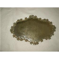 French Mirrored Plateau Brass Floral 19th C #2353726